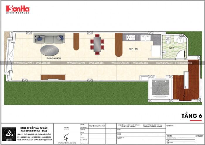 Mặt bằng công năng tầng 6 ngôi nhà hình chữ L kết hợp kinh doanh tại Hà Nội