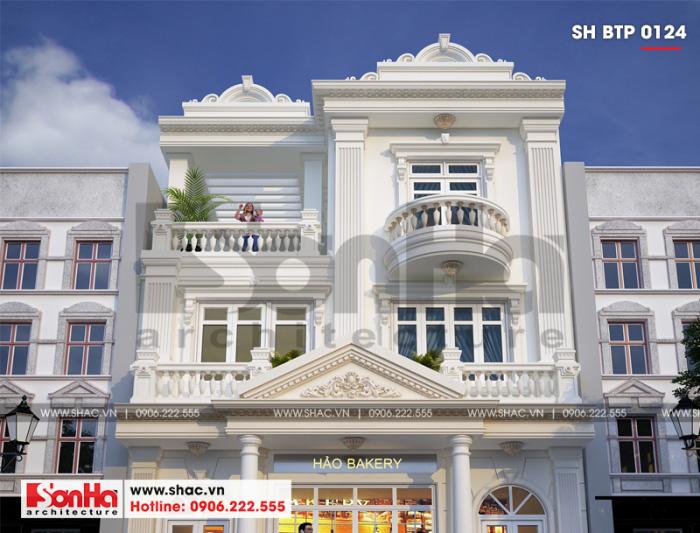 Cận cảnh các đường nét tinh tế của biệt thự Pháp 3 tầng đẹp với màu trắng