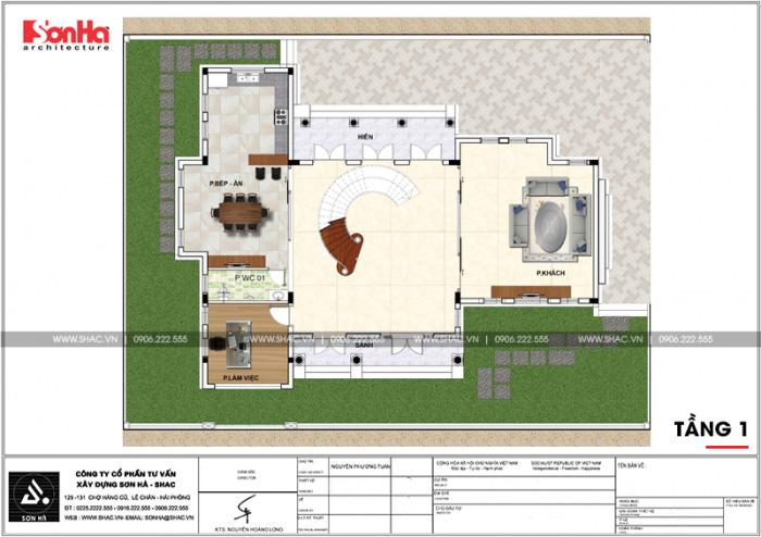Mặt bằng công năng tầng 1 biệt thự tân cổ điển 3 tầng có sân vườn tại Vinhomes Imperia