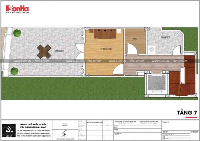 Mặt bằng công năng tầng 7 ngôi nhà hình chữ L kết hợp kinh doanh tại Hà Nội