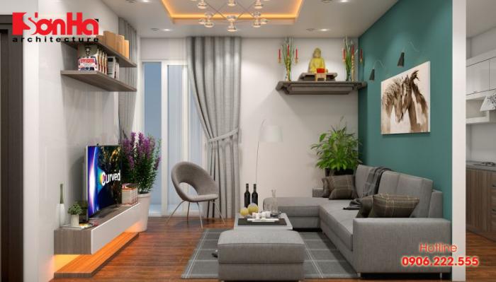Giải pháp thiết kế phòng khách và phòng bếp liền kề diện tích hẹp