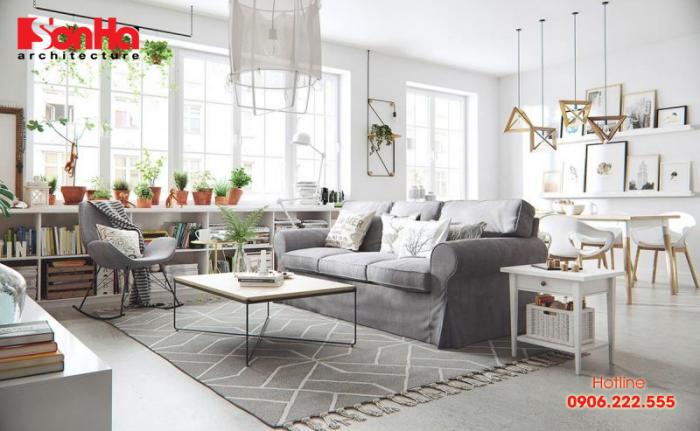 Mẫu thiết nội thất phòng khách đẹp Scandinavian cho căn hộ tiện nghi