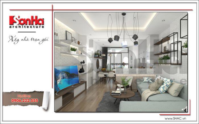 Thiết kế phòng khách và phòng bếp liên thông đẹp