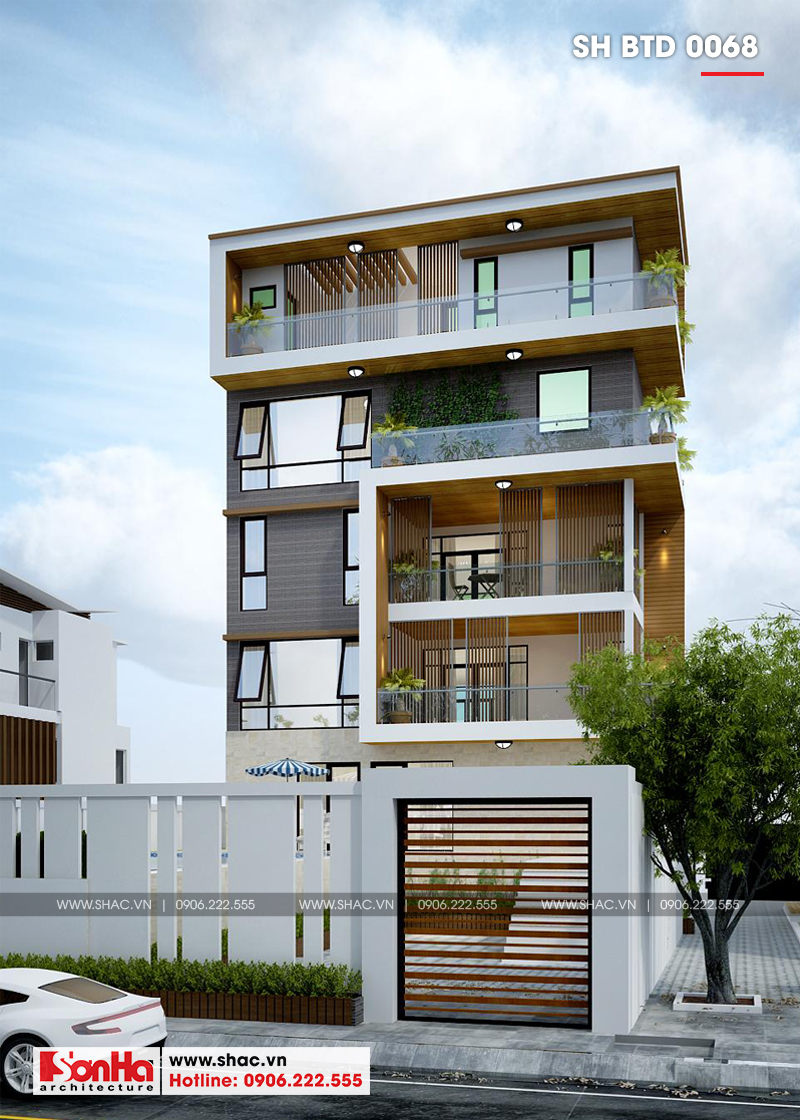 Thiết kế biệt thự hiện đại có hồ bơi còn ấn tượng với mặt tiền ốp gạch phù hợp
