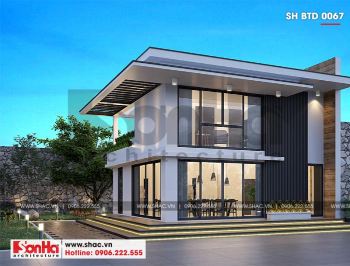 Nếu muốn một mẫu biệt thự đơn giản bạn có thể chọn thiết kế biệt thự mini 2 tầng