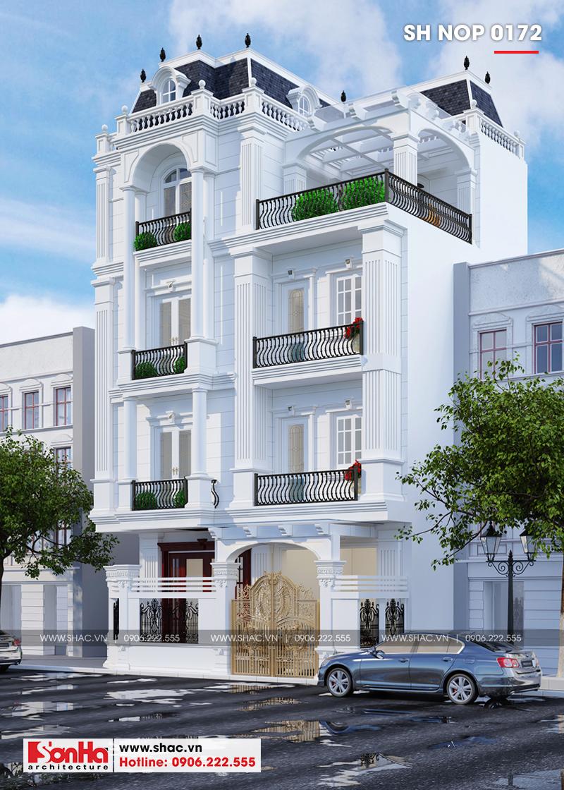 Thiết kế nhà phố cổ điển bán biệt thự 4 tầng có tầng hầm tại Lạng Sơn - SH NOP 0172 1
