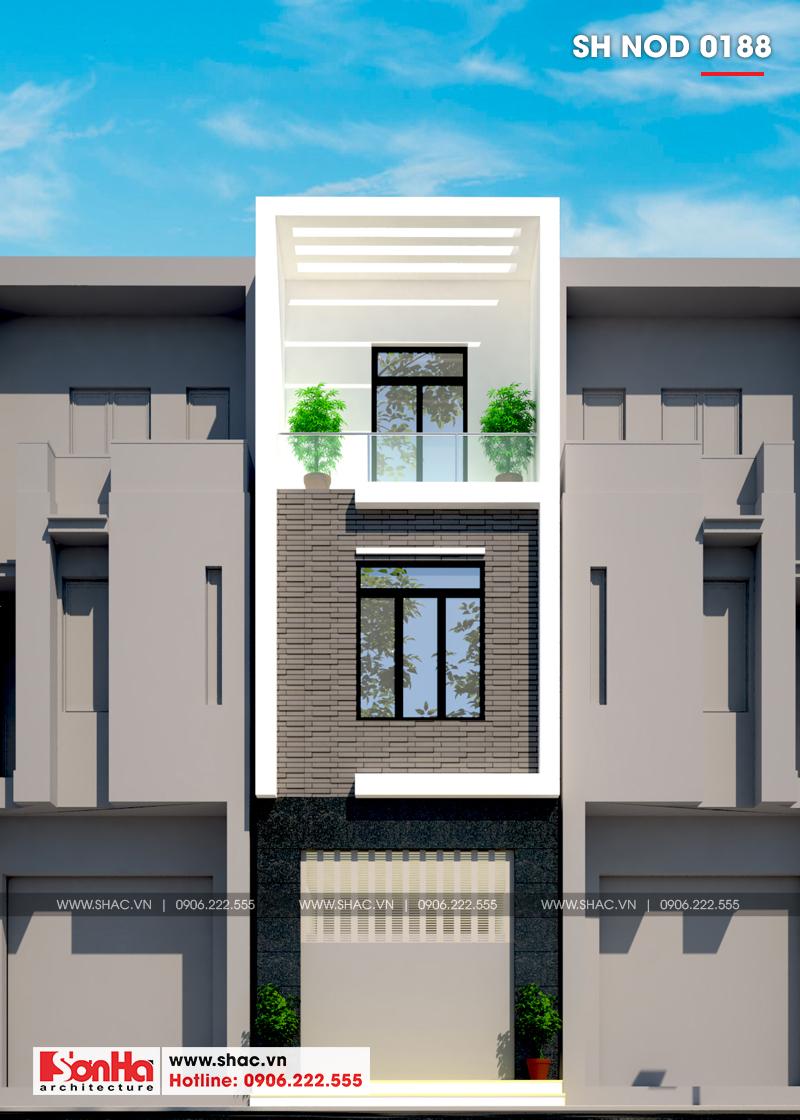 Thiết kế nhà phố hiện đại 3 tầng diện tích 3,5x16,8m tại Hà Nội – SH NOD 0188 1