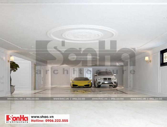 Thiết kế nội thất gara biệt thự tân cổ điển rộng rãi, thoáng đãng được chủ đầu tư đánh giá cao