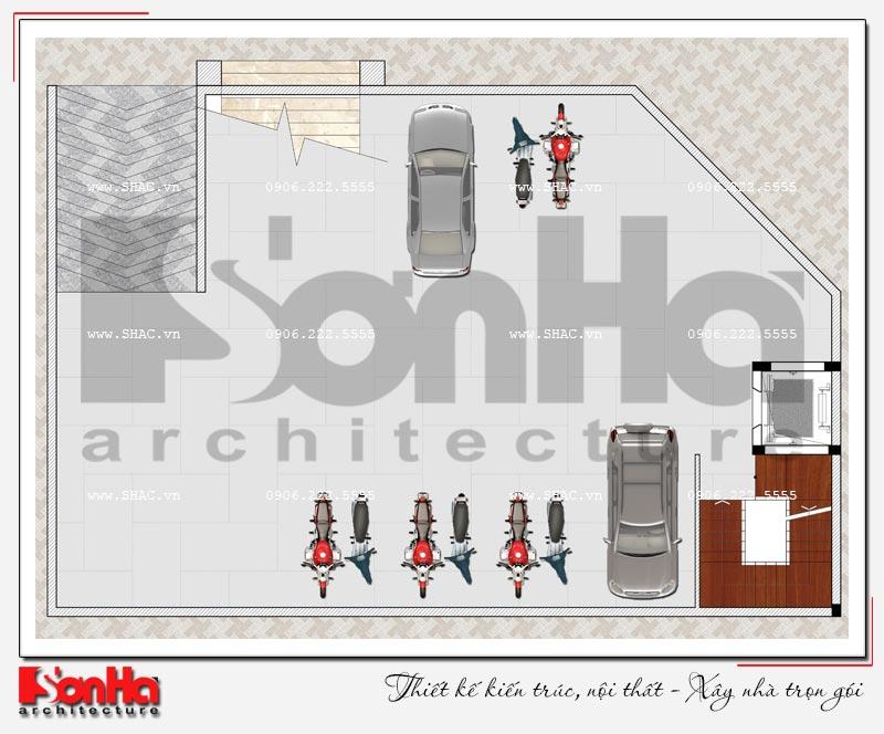 Thiết kế nhà hàng kiến trúc hiện đại 4 tầng nổi và 1 tầng hầm ở Bắc Ninh - SH BCK 0050 10