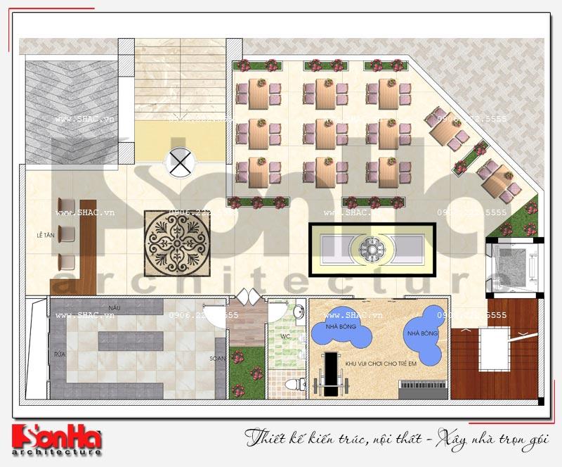 Thiết kế nhà hàng kiến trúc hiện đại 4 tầng nổi và 1 tầng hầm ở Bắc Ninh - SH BCK 0050 11