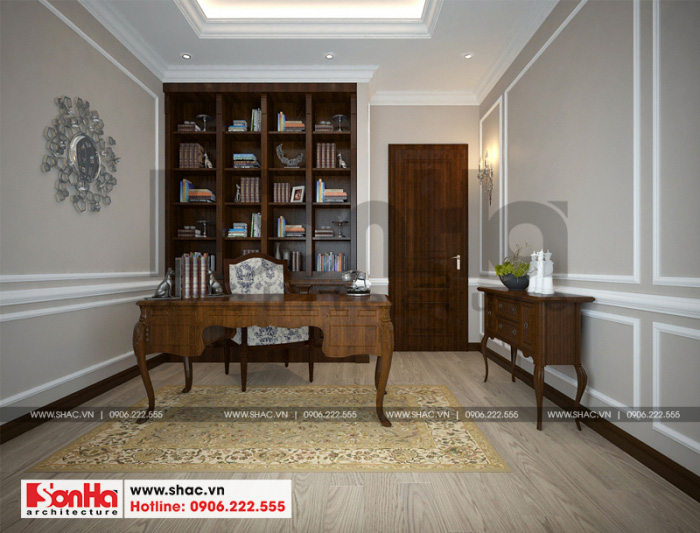 Mẫu thiết kế nội thất phòng làm việc trong không gian biệt thự song lập Vinhomes Imperia