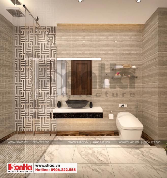 Mẫu thiết kế nội thất phòng tắm và vệ sinh tiện nghi của biệt thự Vinhomes Imperia