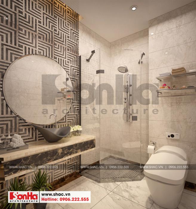 Không gian phòng tắm và vệ sinh được bố trí tiện nghi và ngăn nắp