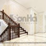 19 Thiết kế nội thất sảnh thang biệt thự tân cổ điển 2 mặt tiền tại quảng ninh sh btp 0127