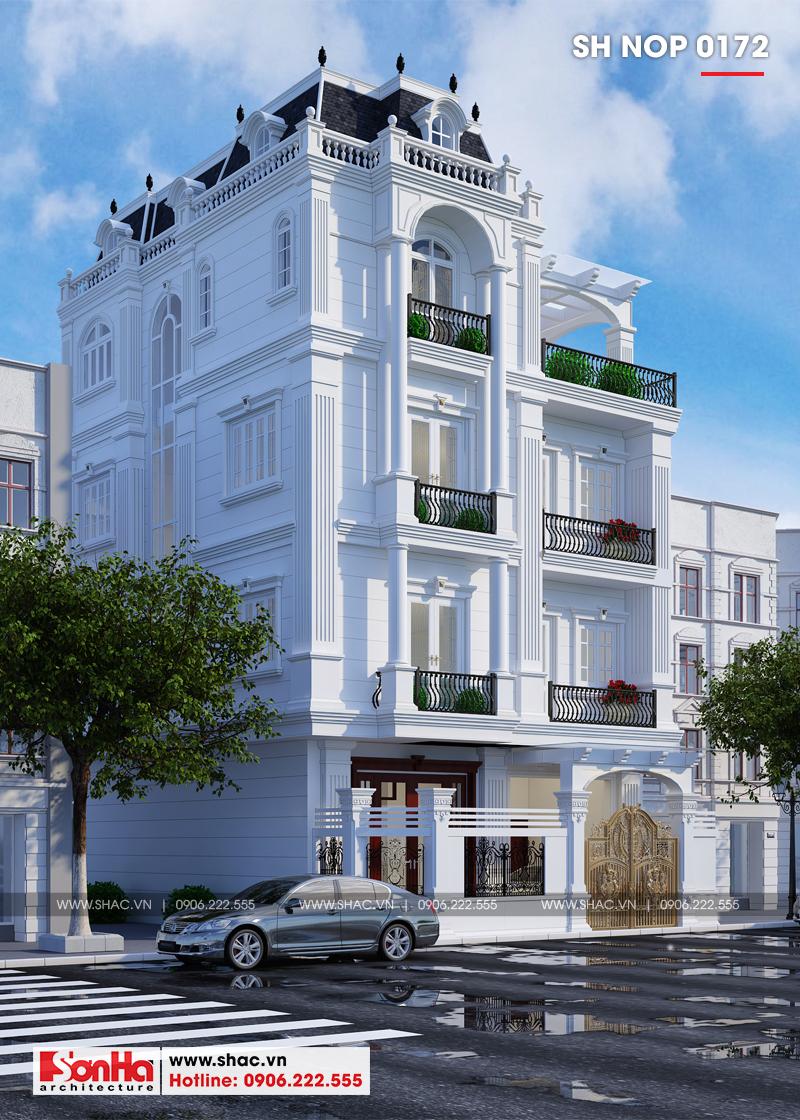 Thiết kế nhà phố cổ điển bán biệt thự 4 tầng có tầng hầm tại Lạng Sơn - SH NOP 0172 2