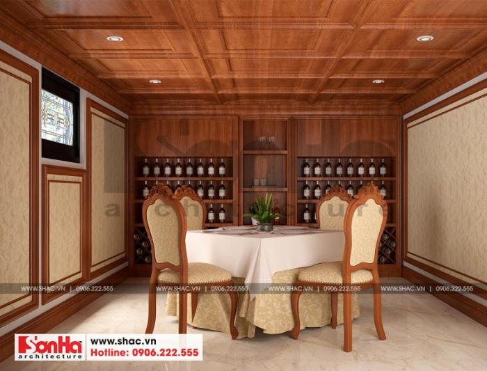 Thiết kế hầm rượu biệt thự phong cách tân cổ điển với nội thất gỗ cao cấp