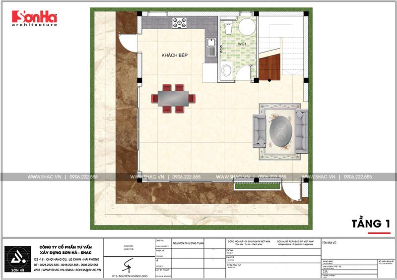 3 Mặt bằng công năng tầng 1 biệt thự hiện đại mini diện tích 64m2 tại hải phòng