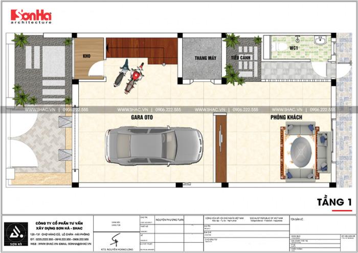 Bản vẽ công năng tầng 1 nhà ống hiện đại có gara ô tô trong nhà tại Hải Phòng
