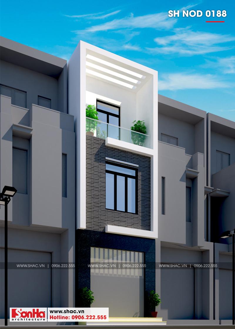 Thiết kế nhà phố hiện đại 3 tầng diện tích 3,5x16,8m tại Hà Nội – SH NOD 0188 2