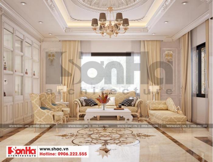 Không gian phòng khách biệt thự tân cổ điển tại Quảng Ninh với thiết kế đơn giản, nhẹ nhàng mà vô cùng tinh tế