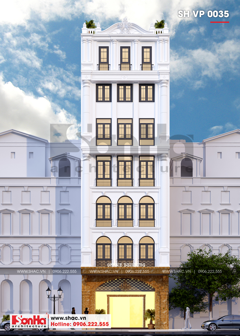Thiết kế văn phòng cho thuê kiến trúc tân cổ điển tại Quảng Ninh - SH VP 0035 1