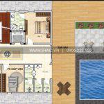 4 Mặt bằng công năng tầng 1 biệt thự hiện đại có hồ bơi tại thái bình sh btd 0068