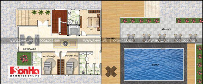 Mặt bằng công năng tầng 1 của biệt thự hiện đại tại Thái Bình với bể bơi hình chữ nhật