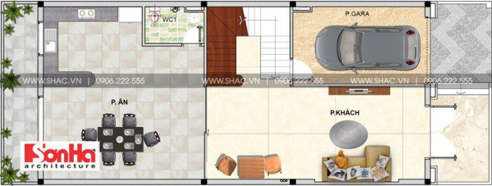 Bản vẽ mặt bằng công năng tầng 1 ngôi nhà ống kiểu Pháp 3 tầng tại Hải Phòng