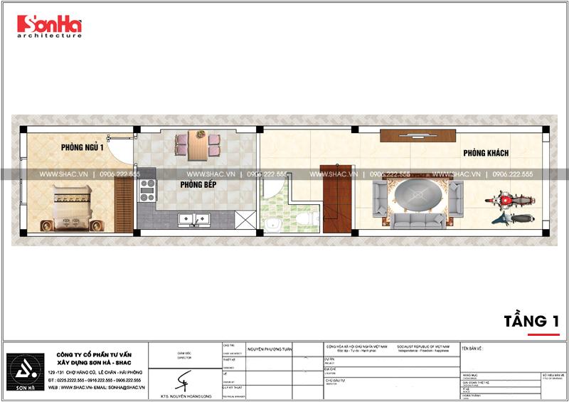 Thiết kế nhà phố hiện đại 3 tầng diện tích 3,5x16,8m tại Hà Nội – SH NOD 0188 4