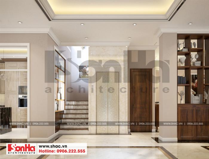 Mẫu nội thất sảnh thang biệt thự song lập phong cách tân cổ điển Vinhomes Imperia