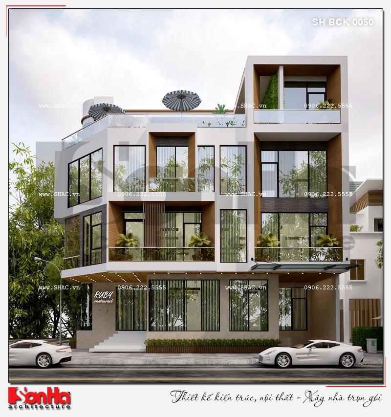 Thiết kế nhà hàng kiến trúc hiện đại 4 tầng nổi và 1 tầng hầm ở Bắc Ninh - SH BCK 0050 4