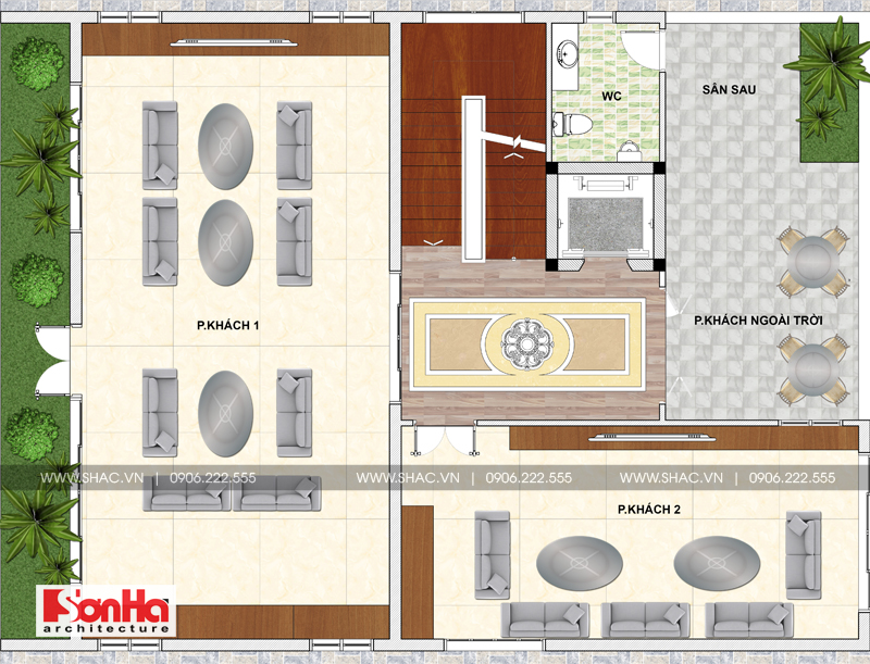 Biệt thự hiện đại có tầng hầm và hồ bơi với thiết kế sân vườn đẹp tại Thái Bình – SH BTD 0068 4