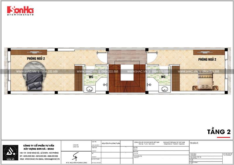 Thiết kế nhà phố hiện đại 3 tầng diện tích 3,5x16,8m tại Hà Nội – SH NOD 0188 5