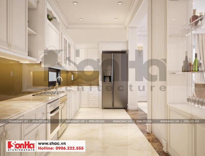 Ý tưởng thiết kế trang trí không gian phòng bếp tân cổ điển với nội thất đơn giản nhưng vẫn đảm bảo sự tiện dụng cho người sử dụng