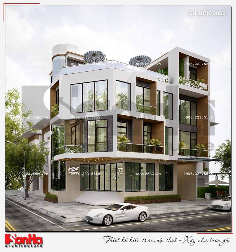 Thiết kế nhà hàng kiến trúc hiện đại 4 tầng nổi và 1 tầng hầm ở Bắc Ninh - SH BCK 0050 5