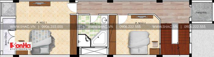 Bản vẽ thiết kế công năng lầu 2 nhà ống mặt tiền 5m hiện đại tiện nghi tại Sài Gòn