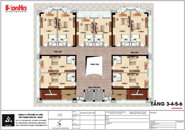 Mặt bằng công năng tầng 3 đến 6 khách sạn tân cổ điển tiêu chuẩn 4 sao tại An Giang