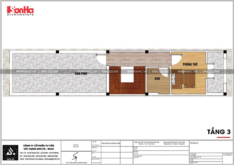 Thiết kế nhà phố hiện đại 3 tầng diện tích 3,5x16,8m tại Hà Nội – SH NOD 0188 6