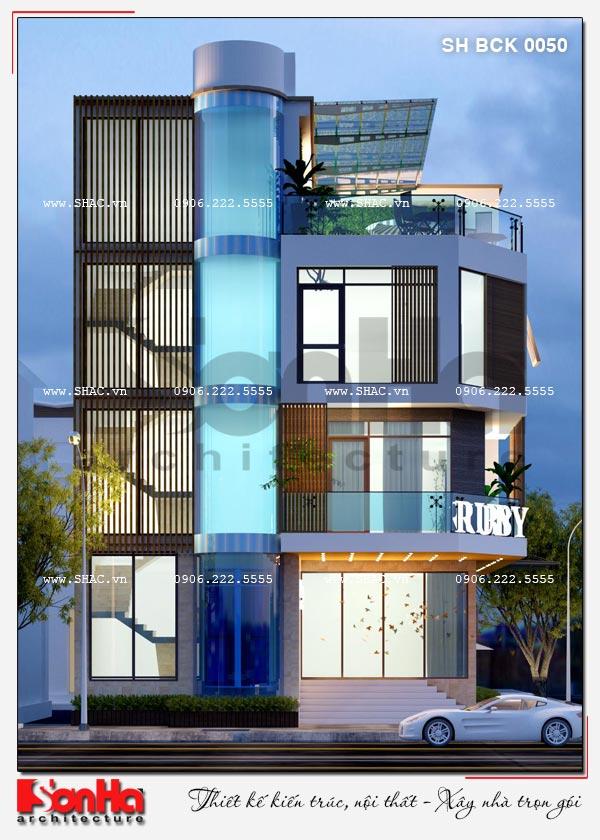 Thiết kế nhà hàng kiến trúc hiện đại 4 tầng nổi và 1 tầng hầm ở Bắc Ninh - SH BCK 0050 6