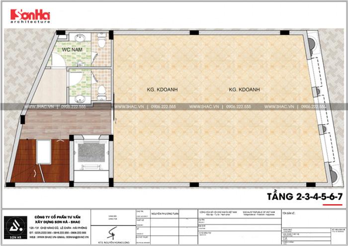 Công năng tầng 2 đến tầng 7 văn phòng cho thuê tân cổ điển Pháp tại Quảng Ninh
