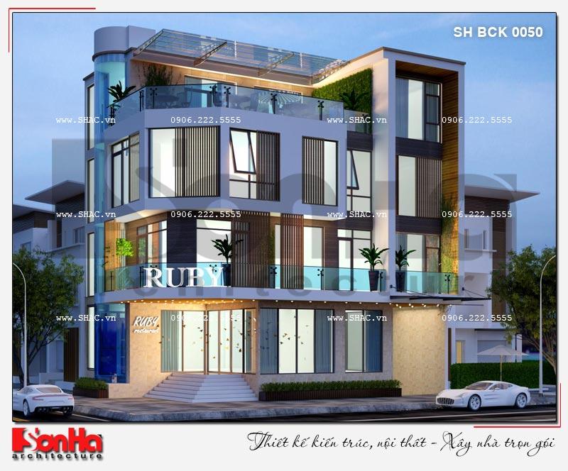 Thiết kế nhà hàng kiến trúc hiện đại 4 tầng nổi và 1 tầng hầm ở Bắc Ninh - SH BCK 0050 7