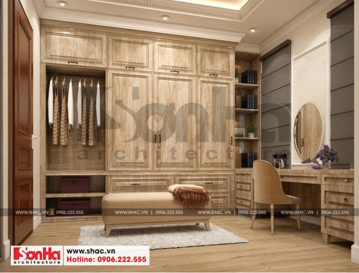 Cách bố trí nội thất khu thay đồ biệt thự song lập phong cách tân cổ điển đẹp