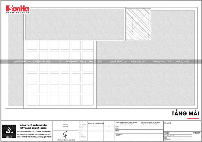 Bản vẽ công năng tầng mái nhà ống hiện đại có gara ô tô trong nhà tại Hải Phòng