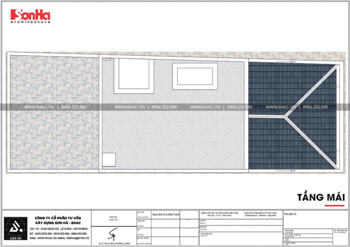 Bản vẽ mặt bằng công năng tầng mái nhà ống tân cổ điển 3 tầng đẹp tại Sài Gòn
