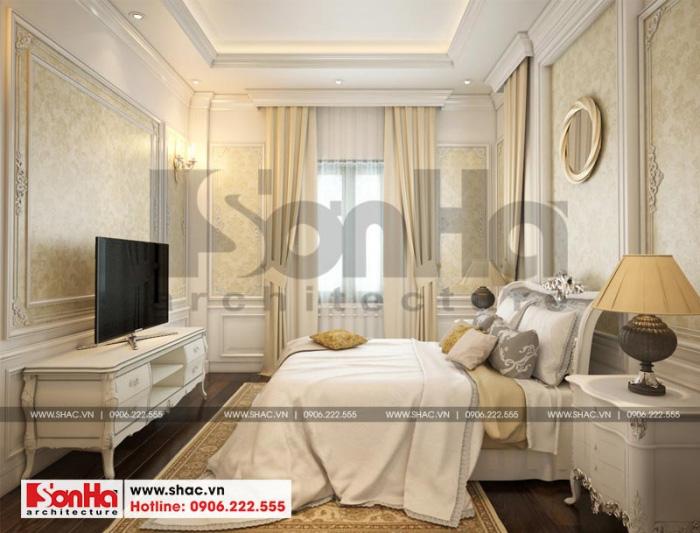 Căn phòng ngủ mang phong cách tân cổ điển đẹp của Sơn Hà với cá tính riêng biệt, không hề trùng lặp với các sản phẩm khác khiến CĐT vô cùng hài lòng