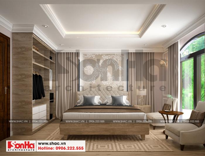 Thêm một mẫu thiết kế nội thất phòng ngủ biệt thự tân cổ điển thoáng đãng