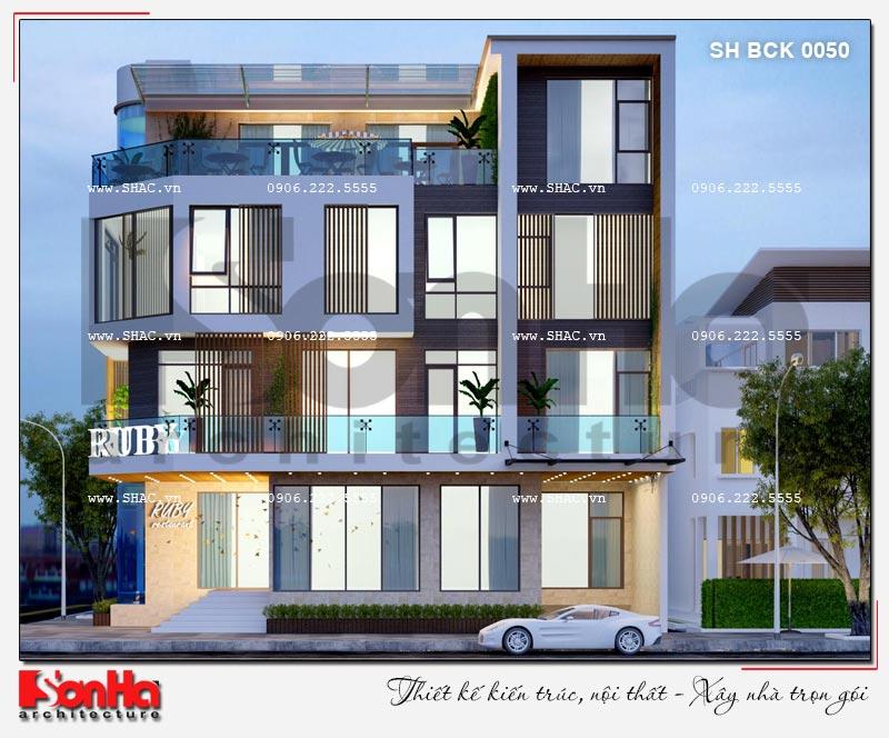 Thiết kế nhà hàng kiến trúc hiện đại 4 tầng nổi và 1 tầng hầm ở Bắc Ninh - SH BCK 0050 8