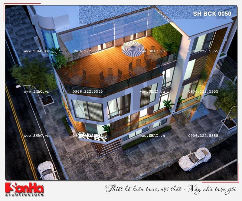 Thiết kế nhà hàng kiến trúc hiện đại 4 tầng nổi và 1 tầng hầm ở Bắc Ninh - SH BCK 0050 9