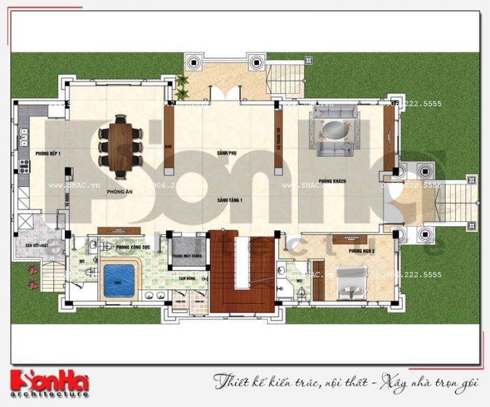Bản vẽ mặt bằng công năng tầng 1 biệt thự 3 tầng tân cổ điển 2 mặt tiền đẹp