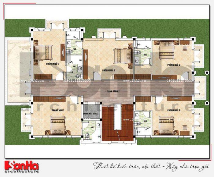Bản vẽ mặt bằng công năng tầng 2 biệt thự 3 tầng tân cổ điển 2 mặt tiền đẹp